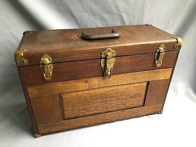 $41 • Buy  Vintage Oak Machinist Chest Tool Box 7 Drawers 1900s