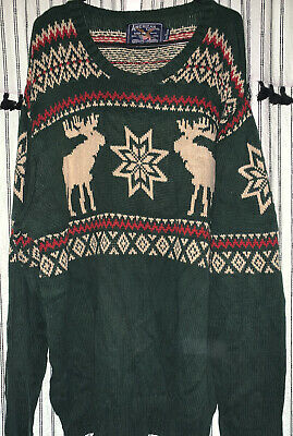 £4.99 • Buy American Living Knitted Ugly Jumper Size L Green Christmas Reindeer