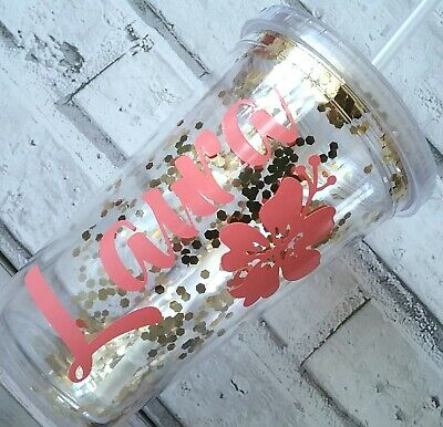 £7.51 • Buy Personalised Gold Glitter Tumbler  ♡ Confetti Cup With Straw ♡ Double Wall