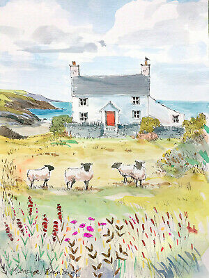£10 • Buy Signed Original  Watercolour 'Cottage And Sheep By The Sea'  By Annabel Burton
