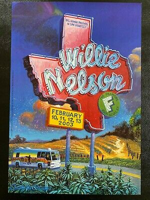 $75 • Buy Willie Nelson Vintage Concert Poster San Francisco Texas State AOMR
