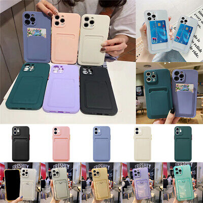 AU4.29 • Buy Clear Or Solid Case With Card Slot Holder For IPhone 12 11 Pro Max Mini XS XR X