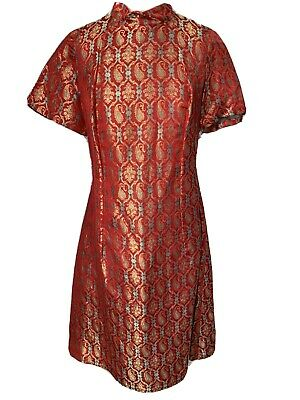 £15.99 • Buy Vintage Chinese Red & Gild Dress Stunning 36 Chest Once Worn