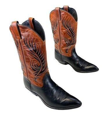 $47.99 • Buy Code West Mens Cowboy Boots Brown Black Leather Pointed Toe Pull Ons 7.5 M