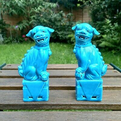 £65 • Buy Vintage Pair Of Chinese Turquoise Blue Foo Dogs Figures 6.25 Ins In Height