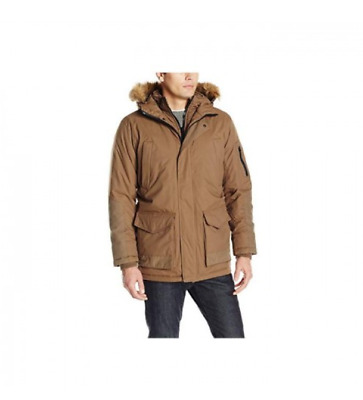 $99.99 • Buy HAWKE & CO Men Size Small HOODED INSULATED COAT JACKET HDP619 FAUX FUR Mud Rust