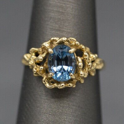 £129.41 • Buy Petite London Blue Topaz Brutalist Statement Ring In 14k Yellow Gold