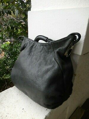 AU19.99 • Buy OROTON BLACK BUTTER SOFT Distressed  LEATHER SLOCHY BAG