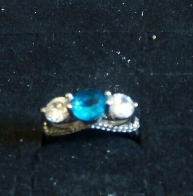 £12.99 • Buy Ladies 925 Sterling Silver Trilogy Middle Stone Blue Topaz Ring Size O