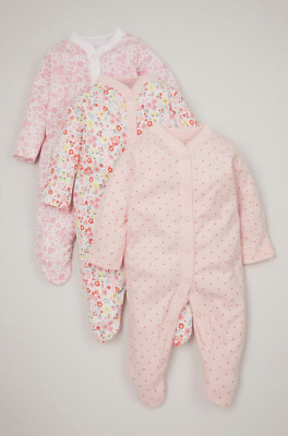 £11.99 • Buy Baby Girls Sleepsuits Babygrows FLORAL SPOT Multipack Ex Nutmeg All In One Pink