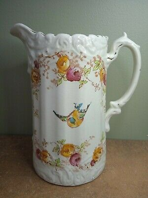 £12 • Buy Antique, Hand Decorated Pitcher Or Water Jug 22cm Tall With Birds & Flowers