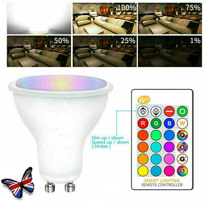 £5.09 • Buy RGB GU10 5W LED Light Bulbs Spotlight Colour Changing Dimmable With Remote