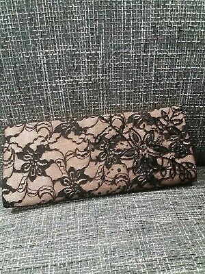 £4.99 • Buy M&S Autograph Black / Salmon Lace Beaded Clutch Bag  USED ONCE
