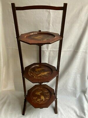 £49.99 • Buy Vintage Japanese 3 Tier Hand Painted Folding Cake Stand Display