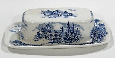 £65.23 • Buy ENOCH WEDGWOOD TUNSTALL COUNTRYSIDE Stick Butter Dish Set BLUE & WHITE TOILE