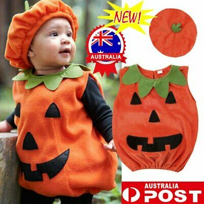 AU15.96 • Buy Kids Halloween Pumpkin Cosplay Costume Toddler Fancy Dress Party Baby Outfit Set