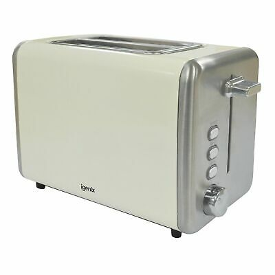 £16.95 • Buy 2 Slice Toaster Cream And Stainless Steel Igenix Ig3000c With 2 Year Warranty