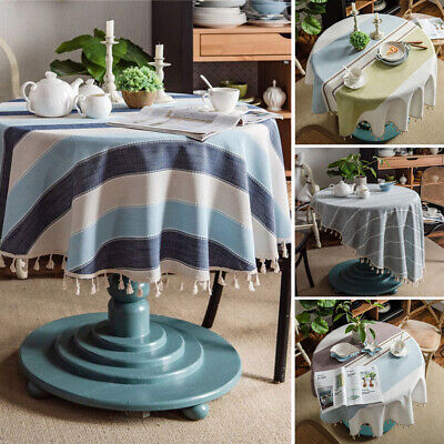 AU33.10 • Buy Round Tablecloth Cotton Table Cloth Cover For Kitchen Dining Wedding Desk Decor
