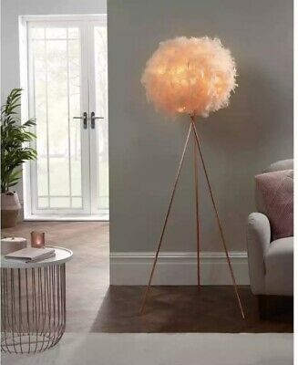 £36.99 • Buy Feathered Shade Rose Gold Tripod Legs Blush Corner Lamp Bedside Table Modern