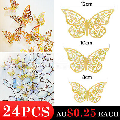 AU6 • Buy 24Pcs 3D DIY Wall Decal Stickers Butterfly Home Room Art Decor Decorations AU