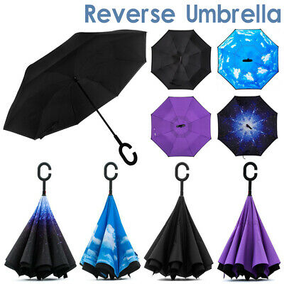 AU16.35 • Buy Windproof Upside Down Reverse Umbrella Double Layer C-Handle Inside-Out Inverted