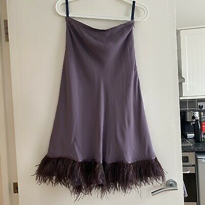 £150 • Buy Vintage Boden Mid Length Silk Skirt With Ostrich Style Feather Trim/hem