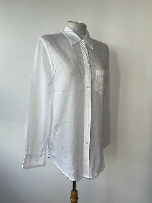 £48 • Buy Equipment Sz M White Cotton Voile Stripe Collared L/sleeve Shirt Blouse