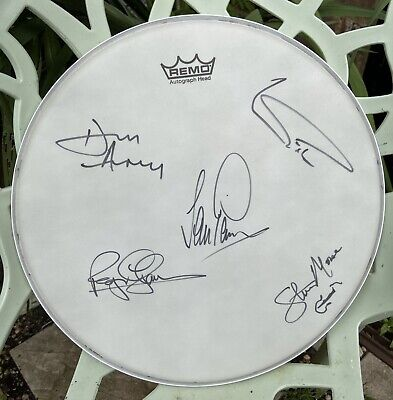 """£150 • Buy Deep Purple Fully Hand Signed 14"""" Remo Drum Head Drum Skin Ian Paice & Band"""