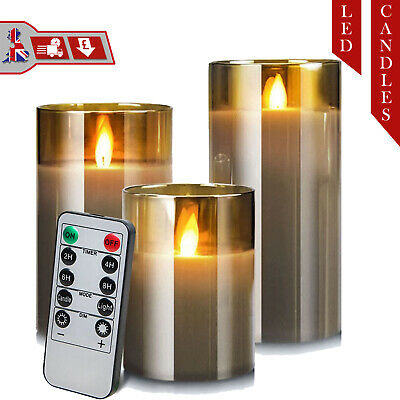 £20 • Buy 3 X Flameless Battery Operated Flickering LED Pillar Candle Lights Glass Jar Wax