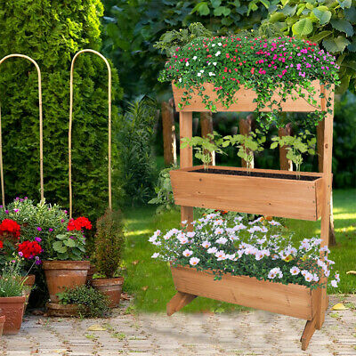 £49.99 • Buy Vertical Raised Garden Bed Vegetable Flower Herb Planter Box With 3 Containers
