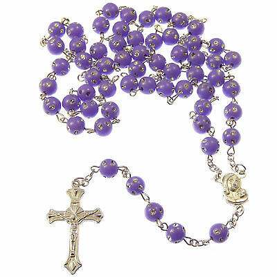 £3.50 • Buy Purple Plastic Round Rosary Beads With Silver Spotted Detail 53cm Long Glitter
