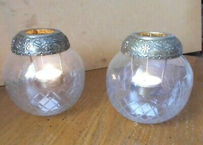 £16.99 • Buy Tea Light Etched Clear Glass 4ins Globe With Embossed Metal Holder Pair (2)