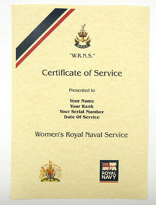 £9.99 • Buy WRNS Womens Naval Service Personalised Luxury Certificate OfMilitary Service.