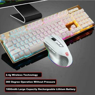 AU50.27 • Buy Wireless Rechargeable Gaming Keyboard Mouse For PC Laptop Office Rainbow Backlit