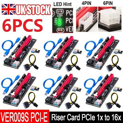 £29.99 • Buy 6PCS VER009S PCI-E Riser Card PCIe 1x To 16x USB 3.0 Data Cable Bitcoin Mining