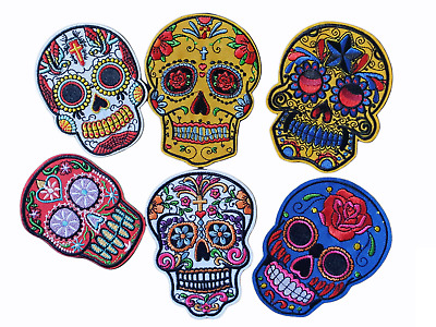 £2.79 • Buy Day Of The Dead Sugar Skull Heads Iron On Patch Sew On Cloth Transfer