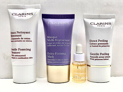 £12.99 • Buy Clarins 4 Pce Face Treatment Set Mask,Cleanser,Gentle Peeling,Face Oil-Sealed