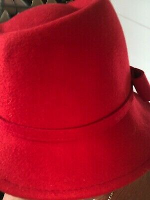 £5.99 • Buy IMMAC CON WORN ONCE RED HAWKINS TRILBY MOD/60s STYLE HAT WOOL 57 CM