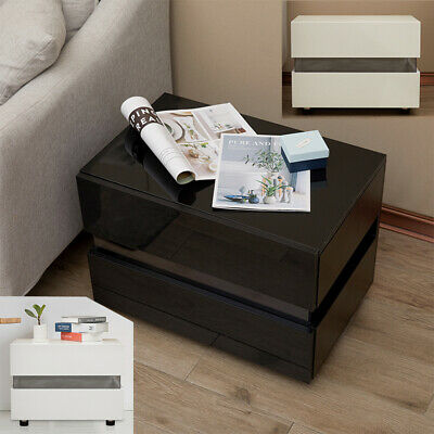 £39.26 • Buy Sofa/Bedside Table Chest Of 2 Drawers Nightstand High Gloss Cabinet W/ LED Light
