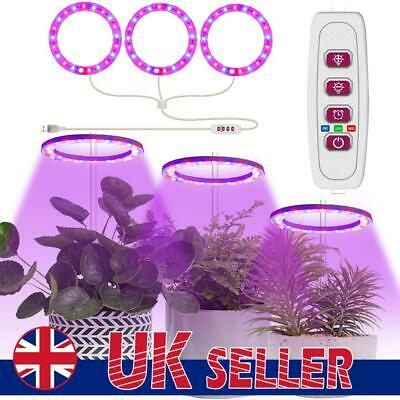 £8.99 • Buy LED Plant Grow Ring Light Full Spectrum 1-4 Rings Hydroponics USB Lamp Dimmable