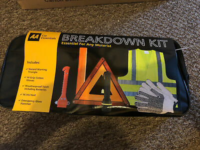 £10.99 • Buy AA Essential Car Breakdown Kit Visibility Vest Triangle Gloves Torch Hammer