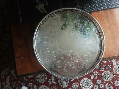 £19.99 • Buy An Alpha Silver Plated Chased Gallery Tray By Viners Of Sheffield 31 Cm Diameter