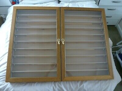 £100 • Buy Large Vintage Wooden Wall Mounted Display Cabinet Case Glass Doors Trains/ Cars