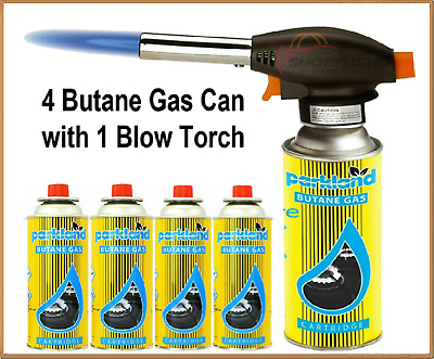 £14.95 • Buy 4 Pk Butane Gas Cans With Blow Torch Burner Welding Auto Ignition Soldering Bbq