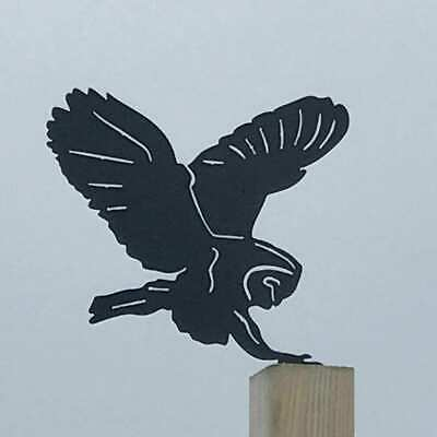 £14.99 • Buy Owl Landing Fence Topper - Outdoor Metal Ornament - Gardening Decor Gifts