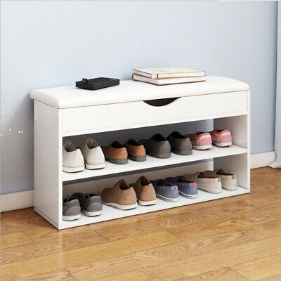 £32.58 • Buy Shoe Storage Rack Cabinet Bench Two Rows Of Compartments Cushion Shelves Home