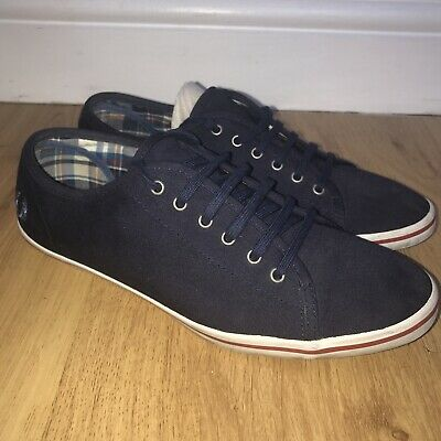 £9.99 • Buy FRED PERRY Canvas Trainers Casual Shoes Navy Check Size 6.5