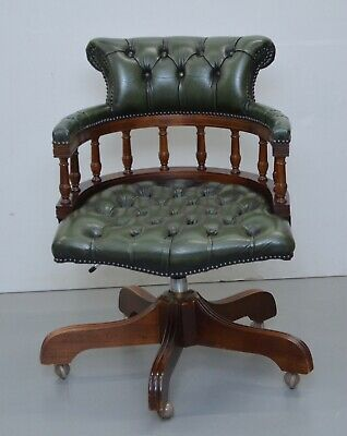 £655 • Buy Chesterfield Directors Green Leather Executive Captains Office Chair