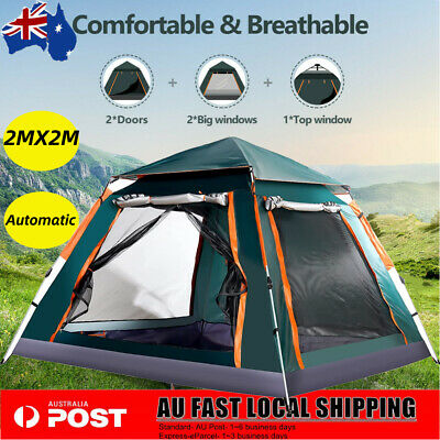 AU95.89 • Buy 4-5 Person Instant Pop Up Tent Family Waterproof Dome Hiking Beach Camping Tent