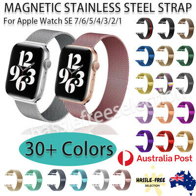 AU8.49 • Buy Apple Watch Series 7 6 5 4 3 2 1 SE Stainless Steel Band Magnetic Milanese Strap